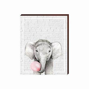 Quadro Animais Chiclete Realístico Elefante fundo cinza e chiclete ROSA [BoxMadeira]