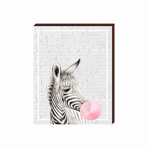 Quadro Animais Chiclete Realístico Zebra fundo cinza e chiclete ROSA [BoxMadeira]