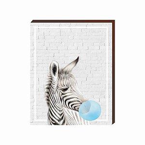 Quadro Animais Chiclete Realístico Zebra fundo cinza e chiclete AZUL [BoxMadeira]