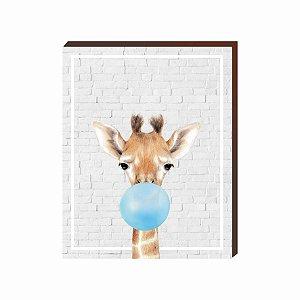 Quadro Animais Chiclete Realístico Girafa fundo cinza e chiclete AZUL [BoxMadeira]