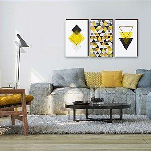 Trio de quadros Geométricos Amarelo e Preto [BOX DE MADEIRA]
