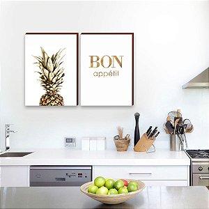 Dupla de quadros para cozinha Abacaxi + Bon Appétit  [boxdemadeira]