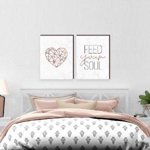 Dupla de quadros Feed your soul + Coração geométrico  [boxdemadeira]