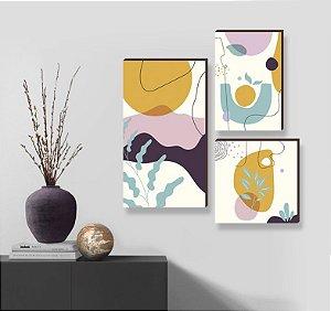Trio de quadros Abstrato Orgânico  [BoxMadeira]