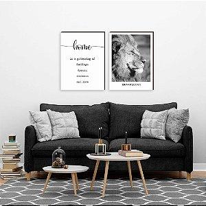 Dupla de quadros Home + Leão [boxdemadeira]