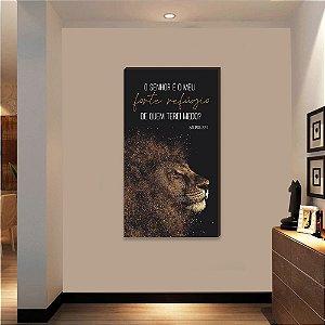 Quadro decorativo Leão+ O Senhor é o meu forte refúgio Vertical [BoxMadeira]
