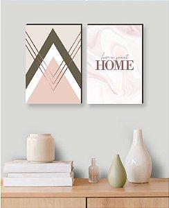 Dupla de quadros Geométrico+ Home Sweet Home [boxdemadeira]
