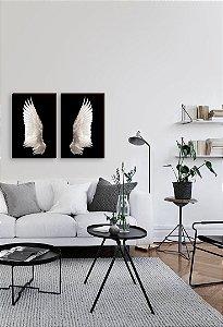Dupla de quadros Asas Realista fundo preto [boxdemadeira]