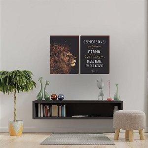 Dupla de quadros  Leão + O Senhor é o meu refúgio [boxdemadeira]