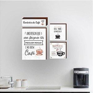 Kit de quadros Cantinho do café Rose gold [Box de Madeira]