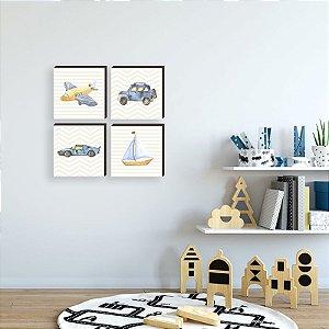 Quarteto de quadros Transportes Azul e Bege [BOX DE MADEIRA]