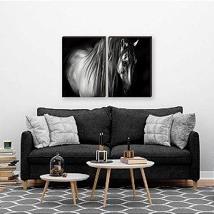 Dupla de quadros Cavalos Ilustração [boxdemadeira]