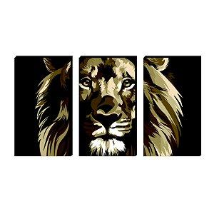 Trio de quadros Leão Sépia [BoxMadeira]