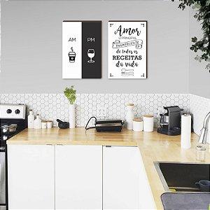 Dupla de quadros para cozinha Amor o principal ingrediente+ AM PM [Box de Madeira]