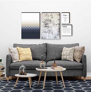Quarteto de quadros Geométrico+ textura+ home+ family Azul [box de madeira]