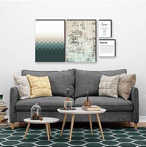 Quarteto de quadros Geométrico+ textura+ home+ family Verde [box de madeira]