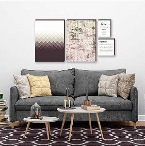 Quarteto de quadros Geométrico+ textura+ home+ family Vinho [box de madeira]