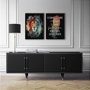 Dupla de quadros Leão colorido pincelada PRETO [boxdemadeira]