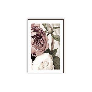 Quadro decorativo Peônia com margem branca [Box de Madeira]