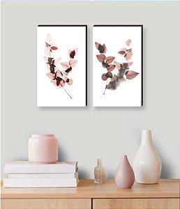 Dupla de quadros Folhas rose [boxdemadeira]