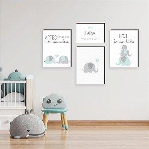 Quarteto de Quadros infantil Nome + Elefante + Frases [BoxMadeira]