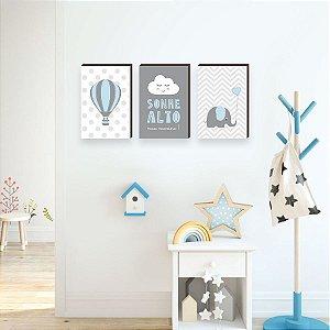 Quadros Trio infantil Sonhe alto+ balão+ elefante  [BOX DE MADEIRA]