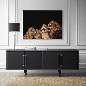 Quadro Decorativo Leão e filhotes [BoxMadeira]