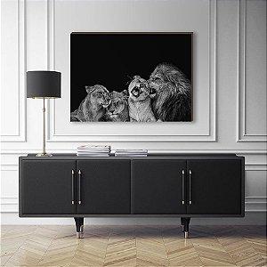 Quadro Decorativo Leão e filhotes preto e branco [BoxMadeira]