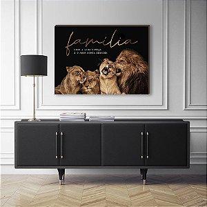 Quadro Decorativo Leão e filhotes com frase [BoxMadeira]
