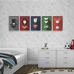 Quinteto de Quadros Heróis DC- Batman, Mulher Maravilha, Superman, Lanterna Verde e Flash [BoxMadeira]