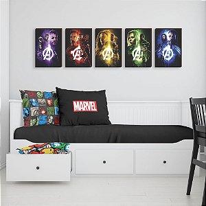 Quinteto de Quadros Vingadores- Heróis Marvel [BoxMadeira]