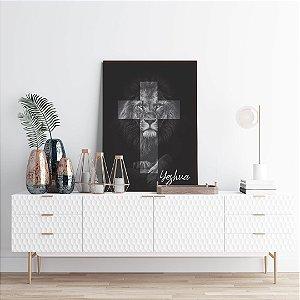 Quadro decorativo Leão Cruz Yeshua  [BoxMadeira]