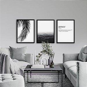 Quadros Trio Palmeira, Mar e Amor [Modura]