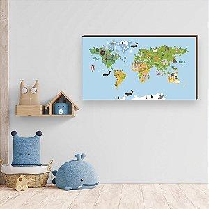 Quadro Decorativo infantil Mapa Mundi Bichos Azul [BoxMadeira]