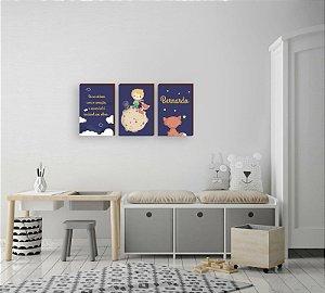 Trio de quadros infantil O Pequeno Príncipe + Nome + Frase [BoxMadeira]