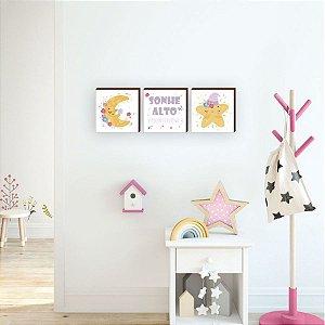 Trio de quadros infantil Lua+ Estrela+ Sonhe alto [BoxMadeira]