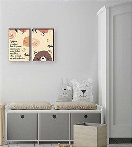 Dupla de quadros infantil Urso + Seja forte e corajoso [boxdemadeira]