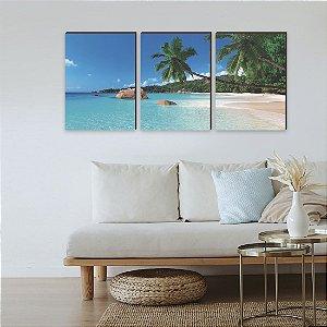 Quadros Trio Paisagem praia e coqueiros [BOX DE MADEIRA]