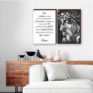 Dupla de quadros Cristo + Pai acampa teus anjos [boxdemadeira]