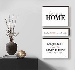 Kit de quadros home sweet home+ espalhe amor+ Porque Dele - branco [BOX DE MADEIRA]
