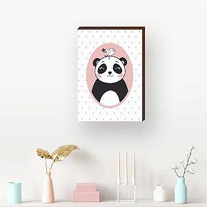Quadro decorativo infantil Panda e passarinho - Rosa [BoxMadeira]