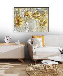 Quadro decorativo Pintura Flores amarelas [box de Madeira]