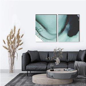Dupla de quadros Pintura Abstrata Turquesa [boxdemadeira]