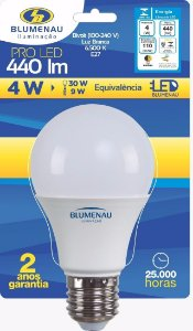 Lâmpada Led 4W Luz Branca 6500K Bivolt A60.  Blumenau Iluminação