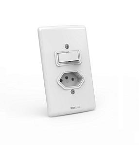 Interruptor 01 tecla simples + 01 tomada 10A / 250V de embutir Branco com parafuso aparente - Linha Artis Enerbras