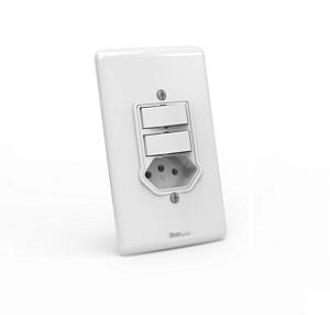 Interruptor 02 teclas simples + 01 tomada 10A / 250V de embutir Branco com parafuso aparente - Linha Artis Enerbras