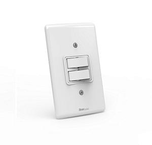 Interruptor de embutir 02 teclas paralelo Branco com parafuso aparente - Linha Artis Enerbras