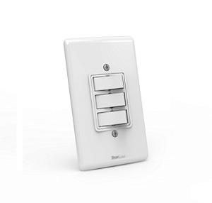 Interruptor de embutir 03 teclas paralelo Branco com parafuso aparente - Linha Artis Enerbras