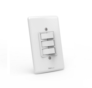 Interruptor de embutir 03 teclas simples Branco com parafuso aparente - Linha Artis Enerbras
