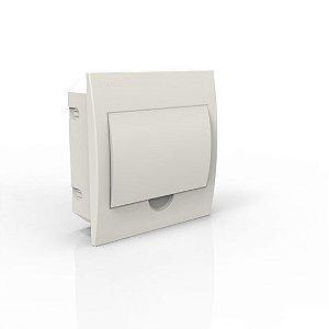 Quadro de Distribuição de Embutir 8 polos Disjuntores DIN / IEC -  Porta Branca. Enerbrás